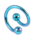 Titanium Double Jewelled Spirals 1.6mm (Coloured metal) 10mm, Turquoise, Sapphire Blue