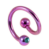 Titanium Double Jewelled Spirals 1.6mm (Coloured metal) 10mm, Purple, Turquoise