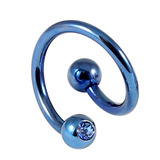 Titanium Double Jewelled Spirals 1.6mm (Coloured metal) 12mm, Blue, Sapphire Blue