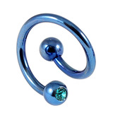 Titanium Double Jewelled Spirals 1.6mm (Coloured metal) 12mm, Blue, Turquoise