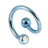 Titanium Double Jewelled Spirals 1.6mm (Coloured metal) 12mm, Ice Blue, Crystal AB
