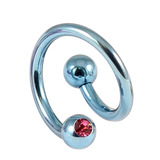 Titanium Double Jewelled Spirals 1.6mm (Coloured metal) 12mm, Ice Blue, Pink