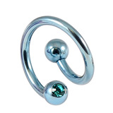 Titanium Double Jewelled Spirals 1.6mm (Coloured metal) 12mm, Ice Blue, Turquoise