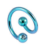 Titanium Double Jewelled Spirals 1.6mm (Coloured metal) 12mm, Turquoise, Light Blue