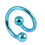 Titanium Double Jewelled Spirals 1.6mm (Coloured metal) 12mm, Turquoise, Turquoise