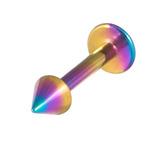 Titanium Coned Labrets 1.2mm 1.2mm, 6mm, Rainbow