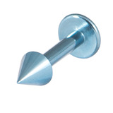 Titanium Coned Labrets 1.6mm 1.6mm, 10mm, Ice Blue