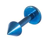 Titanium Coned Labrets 1.6mm 1.6mm, 10mm, Blue