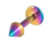 Titanium Coned Labrets 1.6mm 1.6mm, 10mm, Rainbow
