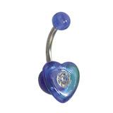 Acrylic Heart Belly Bar Clear / Blue