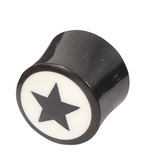 Organic Horn Plug with Black Star on White (HP2) 16