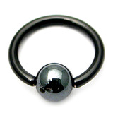 Black Titanium BCRs with a Hematite Bead 1.2mm, 10mm, 4mm