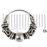 Sterling Silver Hoops - Earrings  H25-H30 H26:- Piercing Gauge 0.6mm. Perceived Gauge 1.6mm. Internal Diameter 9mm. (1 PAIR)