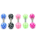 Acrylic Checker-A Barbell 1.6x14mm (most popular) / 6 / Pack of all 5 shown