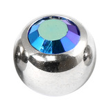 Steel Threaded Jewelled Balls 1.6x6mm jet ab