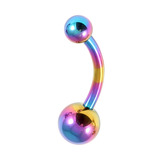 Titanium Curved Bar 1.6mm with 6-4 balls 10 / Rainbow
