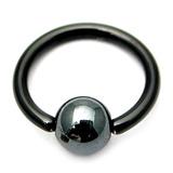 Black Titanium BCRs with a Hematite Bead 1.6mm, 14mm, 5mm