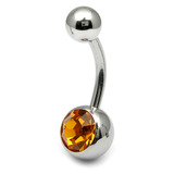 Steel Jewelled Belly Bar - 12mm Amber