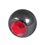 Black Titanium Jewelled Balls 1.6x4mm 1.6mm, 4mm, Red