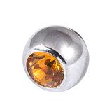Steel Threaded Jewelled Balls 1.2x3mm amber