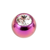 Titanium Threaded Jewelled Balls 1.2x3mm Purple metal, Crystal Clear Gem