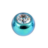 Titanium Threaded Jewelled Balls 1.2x3mm Turquoise metal, Crystal Clear Gem