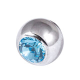 Titanium Threaded Jewelled Balls 1.2x3mm Mirror Polish metal, Light Blue Gem