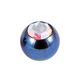 Titanium Threaded Jewelled Balls 1.2x3mm Blue metal, Crystal AB Gem