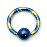 Titanium Candy Striped BCR 1.6mm 12mm, 6mm, Blue and Gold