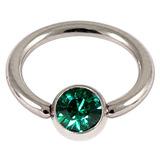 1.2 jewelled ball closure rings (bcrs) dark green / 12