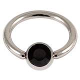 Steel Jewelled BCR 1.6mm Jet Black / 10