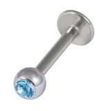 Titanium Jewelled Labrets 1.6mm 4mm Ball (Mirror Polish) 1.6mm, 8mm, Light Blue
