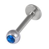 Titanium Jewelled Labrets 1.6mm 4mm Ball (Mirror Polish) 1.6mm, 10mm, Capri Blue
