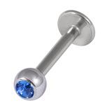 Titanium Jewelled Labrets 1.6mm 4mm Ball (Mirror Polish) 1.6mm, 10mm, Sapphire Blue