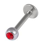 Titanium Jewelled Labrets 1.6mm 4mm Ball (Mirror Polish) 1.6mm, 10mm, Red
