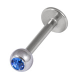Titanium Jewelled Labrets 1.6mm 5mm Ball (Mirror Polish) 1.6x14mm / Sapphire Blue