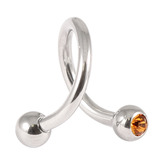 Steel Double Jewelled Spiral 1.2mm 1.2 / 10 / Amber