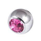 Titanium Threaded Jewelled Balls 1.2x4mm Mirror Polish metal, Pink Gem