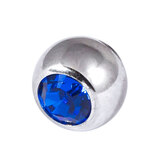 Titanium Threaded Jewelled Balls 1.2x3mm Mirror Polish metal, Capri Blue Gem