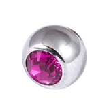 Titanium Threaded Jewelled Balls 1.2x3mm Mirror Polish metal, Fuchsia Gem
