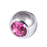 Titanium Threaded Jewelled Balls 1.2x3mm Mirror Polish metal, Pink Gem