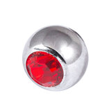 Titanium Threaded Jewelled Balls 1.2x3mm Mirror Polish metal, Red Gem