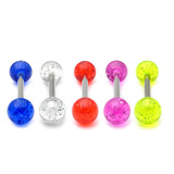 Acrylic Glitter Barbell 1.6x14mm (most popular) / 6 / Pack of all 5 shown