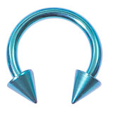 Titanium Coned Circular Barbells (CBB) (Horseshoes) 1.6mm x 12mm, Turquoise
