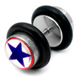Steel Logo Fake Plugs 1.2x4.5mm shaft. / Blue star / 8mm disks