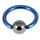 Titanium BCR with Hematite Bead 1.0mm gauge 1.0mm, 8mm, 4mm, Blue