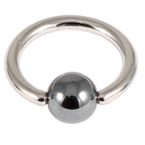 Titanium BCR with Hematite Bead 1.0mm gauge 1.0mm, 8mm, 4mm, Mirror Polish