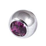 Titanium Threaded Jewelled Balls 1.6x4mm Mirror Polish metal, Purple Gem