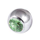 Titanium Threaded Jewelled Balls 1.6x4mm Mirror Polish metal, Light Green Gem