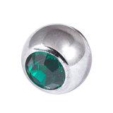 Titanium Threaded Jewelled Balls 1.6x4mm Mirror Polish metal, Dark Green Gem